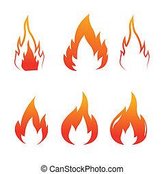 fuoco, icone, vettore, set, fiamme