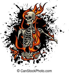 fuoco, illustrazione, vettore, fiamme, cranio