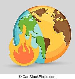 fuoco, immagine, foresta, icona
