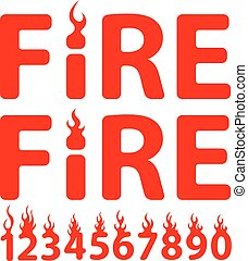 fuoco, iscrizione, vettore