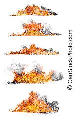 fuoco, isolato, collezione, alto, fondo, bianco, risoluzione