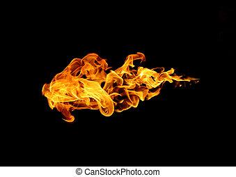 fuoco, isolato, collezione, fiamma, fondo, nero
