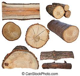 fuoco, isolato, set, bianco, legno, ceppo