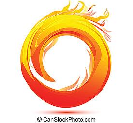 fuoco, logotipo, astratto, fiamme