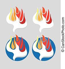fuoco, logotipo, spirito, santo