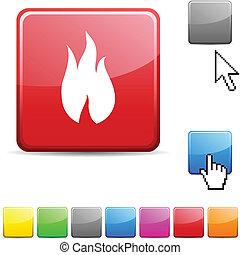 fuoco, lucido, button.