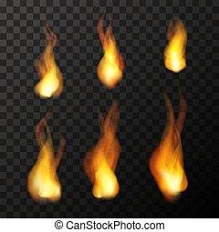 fuoco, luminoso, set, trasparente, fiamme
