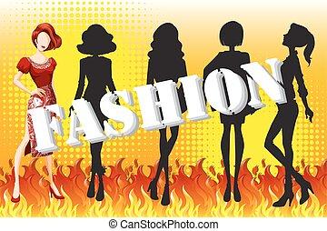 fuoco, moda, femmina