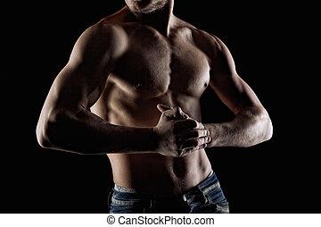 fuoco, muscolare, nudo, mani, black., uomo