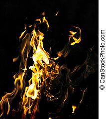 fuoco, nero, astratto, fiamma, fondo