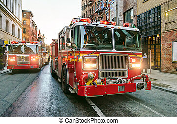 fuoco, new york, camion