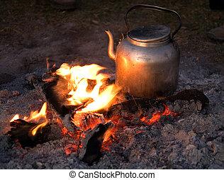 fuoco, ngorongoro, 001, campeggiare