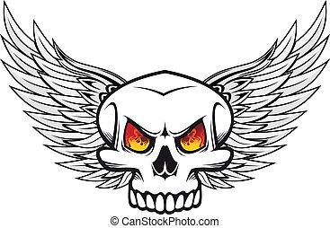fuoco, occhi, ali, cranio