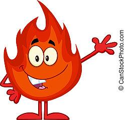 fuoco, ondeggiare, carattere, felice