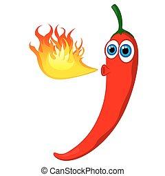 fuoco, pepe peperoncino rosso, caldo
