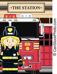 fuoco, pompiere, camion, &