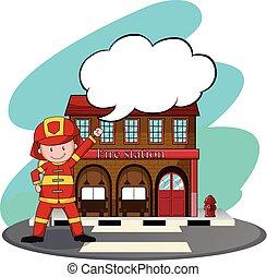 fuoco, pompieri, stazione, lavorativo