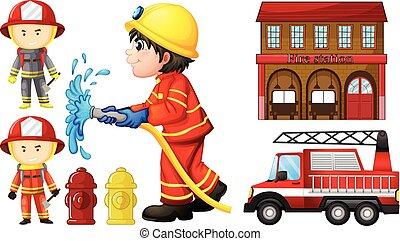fuoco, pompieri, stazione