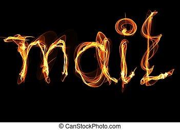 fuoco, posta, parola, illustrazione