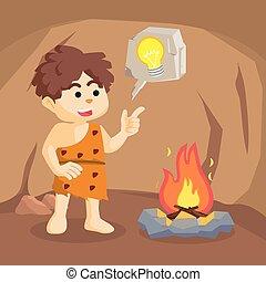 fuoco, ragazzo, caveman, dall'aspetto, era
