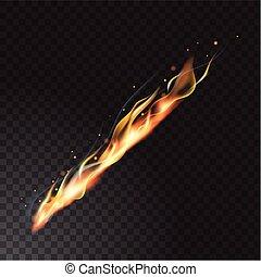 fuoco, realistico, fiamma