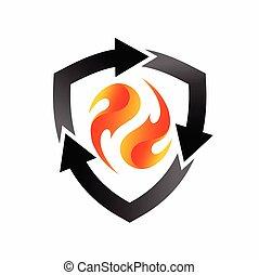 fuoco, riciclare, elemento, logotipo