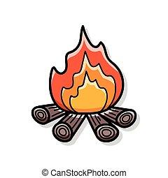 fuoco, scarabocchiare, campeggiare