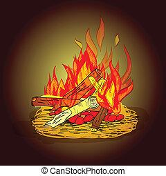 fuoco, schizzo, campeggiare