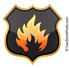 fuoco, scudo