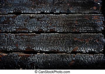 fuoco, secondo, legno, closeup, bruciato, parete