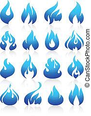 fuoco, set, blu, fiamme, icone