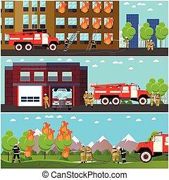 fuoco, set., combattimento, firefighters., vettore, dipartimento, stazione, bandiere orizzontali