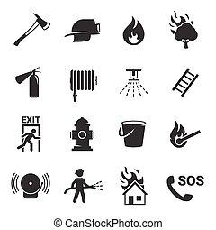 fuoco, set, emergenza, icone
