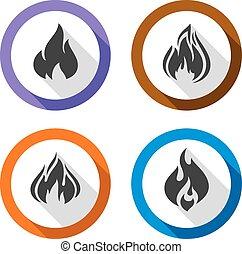 fuoco, set, fiamme, icone