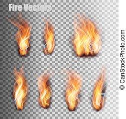 fuoco, set., fiamme, vector.