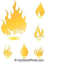 fuoco, set, icone