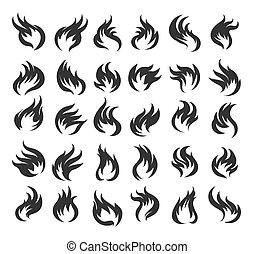 fuoco, set., illustrazione, vettore, fiamma, icona