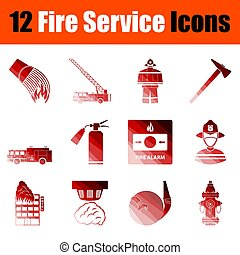 fuoco, set, servizio, icona