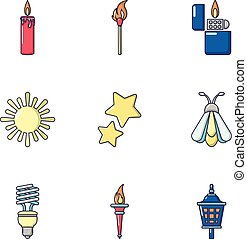 fuoco, set, stile, cartone animato, icone