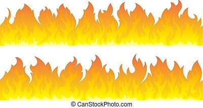 fuoco, set., vettore, linee, fiamme