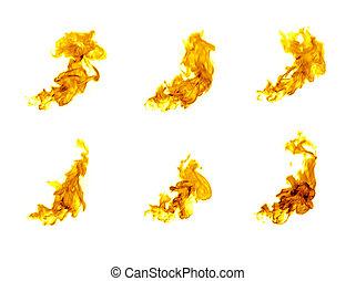 fuoco, sfondo bianco, isolato, fiamme
