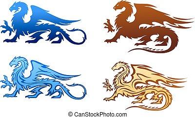 fuoco, silhouette, set, draghi