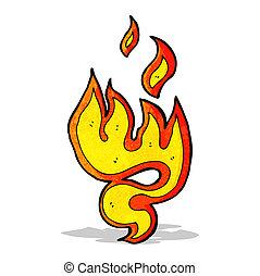 fuoco, simbolo, cartone animato