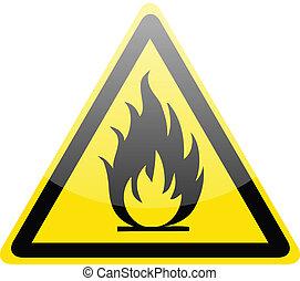 fuoco, simbolo di avvertenza