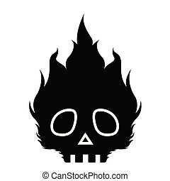 fuoco, sinistro, cranio, icona