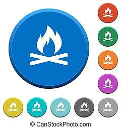fuoco, smussato, campeggiare, bottoni