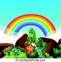 fuoco, soffiando, drago verde