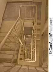 fuoco, stairwell, fuga
