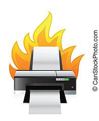 fuoco, stampante