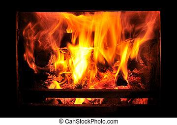 fuoco, stufa, legno, urente